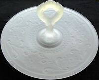 """Tiara Indiana Glass Satin Frosted Sandwich 12"""" Handled Party Server Platter Tray"""