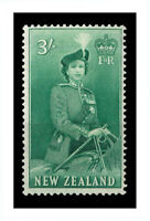 New Zealand 1954 Queen Elizabeth QEII 3/- Green Stamp SG734 Fresh MUH 7-6