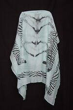 Teal & Black Zebra Print Frame & Silhouettes Colourful Multi Occasion Scarf S162