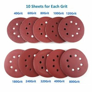 "100pcs 125mm 5"" Sanding Discs 40 60 100 120-800 Mixed Grit Orbital Sander Pads"
