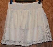 Womens Natural Ivory Crochet Smocked Joe Benbasset Mini Skirt Size XL NWT NEW