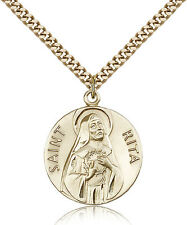 "Saint Rita Of Cascia Medal For Men - Gold Filled Necklace On 24"" Chain - 30 D..."