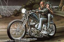 Dave David Mann Biker Art Motorcycle Poster Print Easyriders Crest Line Sturgis