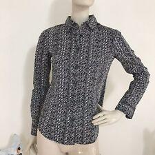 Moda International Black & Ivory Animal Print Cotton Stretch Button Down Shirt S