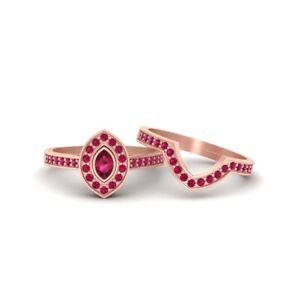 Classic Halo Wedding Ring Set Marquise Cut Pink Ruby Halo Engagement Ring Set
