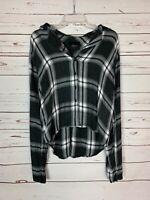 Rails Women's M Medium Black White Plaid Flannel Long Sleeve Cute Fall Top Shirt