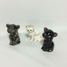 Cat Figurines Set of 3 Japan Vintage White Domestic 2 Exotic Black Brown Cats