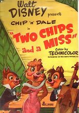 LOCANDINA FILM DISNEY IN METALLO A RILIEVO CHIP 'N' DALE TWO CHIPS AND A MISS