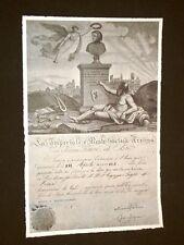 Attestato Imperiale e Reale Società Trentina Giuseppe Giusti di Monsummano Terme