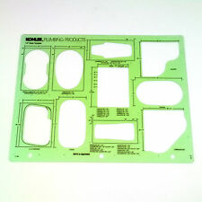 """VTG Kohler Plumbing Products Bath & Shower 1/2"""" Scale Drafting Stencil Template"""