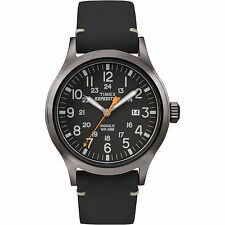 Mens Timex Indiglo Expedition Black Leather Band Black Dial Date Watch TW4B01900