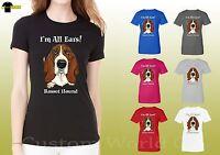 Basset Hound Dog Graphic Shirts Women Funny Basset face Ladies Shirts (19636hd4)