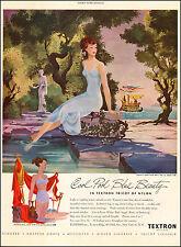 1949 vintage lingerie AD TEXTRON Nylon PoolBlue Ladies Slips Art Siebel 021717