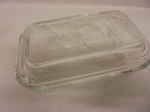 VINTAGE RETRO LUMINARC CLEAR GLASS COW BUTTER DISH WITH LID FRANCE