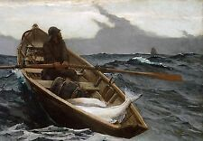 Old Man And The Sea Painting Fishing Row Boat Ocean Real Canvas Art Print New