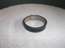 men - stainless steel black leather bracelet 8 1/2 inch long
