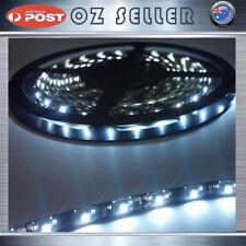 Waterproof Flexible 12V5M 3528 300SMD Black base White LED Strip Audi Style DRL