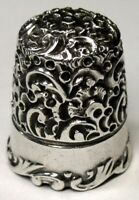 """Antique Ketcham & McDougall Sterling Silver Thimble  """"Embroidery Scroll""""  C1890s"""