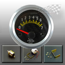 OIL PRESSURE GAUGE CARBON FACE SILVER RIM  52mm 2""