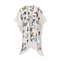 JC Sunny Womens Butterfly Shawl - Printed White Wrap, Kimono Sleeve Coverup