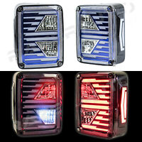 Xtreme Brake+Reverse+Turn Signal+LED BLUE Taillight For 07-18 Jeep JK Wrangler