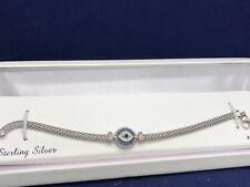 Sterling Silver Blue Glass & Cubic Zirconia Evil Eye Bracelet Msrp $175.00