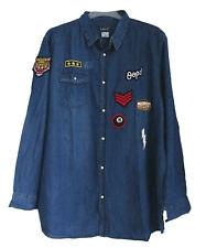 NEU Übergröße Herren Langarm Jeans Hemd mit Badges Applikationen Gr.60/62,64/66