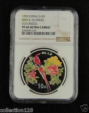 CHINA Silver Coin 10 Yuan 1999, Colorized, Bird & Flowers, NGC PF 66