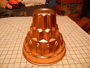 "Vintage Jello Mold Cake Pan 4-Tier Tower 12 Cup Copper Color Aluminum 8"" x 9"""