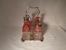 New listing W. Briggs & Co. Sheffield 271 Cut Diamond Cranberry To Crystal Condiment Set -Nr