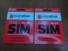 Lot Of 2x Page Plus Dual 4G Lte Sim Card Standard Micro without Contract