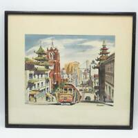 Serratoni San Francisco Chinatown Watercolor Lithograph Framed