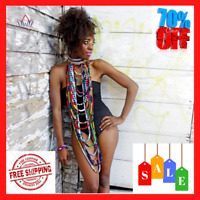 WOMEN AFRICAN NECKLACE Wax For Print Handmade Tribal Jewelry Choker Authentic