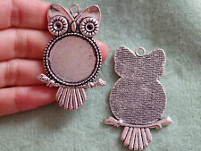 5 large owl pendent picture photo frame setting blanks charm Tibetan silver UK