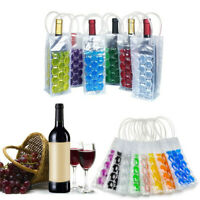 PVC Wine Bottle Freezer Bag Insulated Champagne Chilling Cooler Beer W/Handles