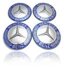 4 X Mercedes Benz 75mm Centre Wheel Caps Alloy Chrome/BLUE AMG/SL/C/E/S/A