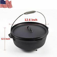 7 Quart Cast Iron Dutch Oven Pot Non Stick Outdoor Camping Cookware USA