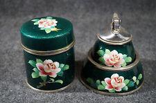 Vtg Enamel Cloisonne Prince Cigarette Lighter & Ashtray & Holder Pink Floral Set