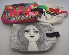 MAC Cosmetics Makeup Bag LOT of 3 Indie Anja Julie Verhoeven Painted Designed