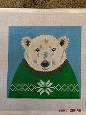 Handpainted needlepoint canvas by Danji polar bear