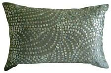 "Silver Pearls 12""x18"" Silk Lumbar Oblong Pillow Cover - Silver Pearls"