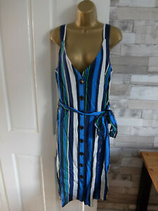 New NEXT ● size 14 ● blue white striped strappy summer dress womens ladies