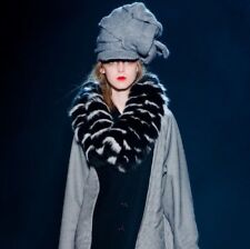 Band of Outsiders Black/White Fluffy Fox Fur Scarf Stole Collar Runway 2013