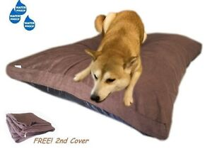 "55x37"" Mixed Shredded Memory Foam Dog Waterproof Pillow Bed w/ Brown Suede Cover"