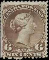 Canada #27a mint F NG 1868 Queen Victoria 6c yellow brown Large Queen faults