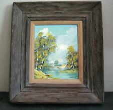 Signed (unreadable maybe L Chan ) Framed oil on board Swamp Bayou painting