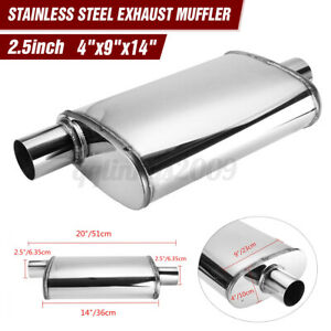 "2.5"" 63mm Car Muffler Stainless Steel Exhaust Sports Center/offset 4""x 9""x14"""