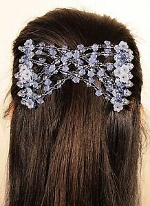 Magic Blue Flower Double Comb Stretchy Easy Hair Styling Clip