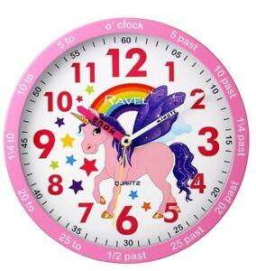 Unicorn pink  Bedroom Wall Clock By Ravel Quartz time teacher