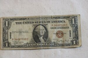 1935-A HAWAII BROWN SEAL $1.00 SILVER CERTIFICATE WW2 EMERGENCY  NOTE